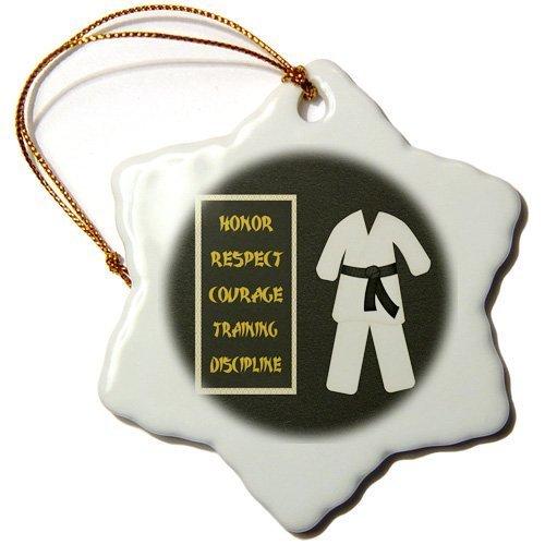 cwb2jcwb2jcwb2j 3-Inch Porcelain Snowflake Decorative Hanging Ornament, Karate Karategi Uniform Black Belt Honor Respect Courage Train Discipline