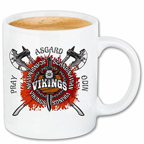taza para café Vikingos escandinavos Asgard ESCANDINAVIA VIKING CRÁNEO del casco de Viking WIKI Caso duro de la cubierta Teléfono Cubiertas cubierta para el330 ml de cerámica en blanco