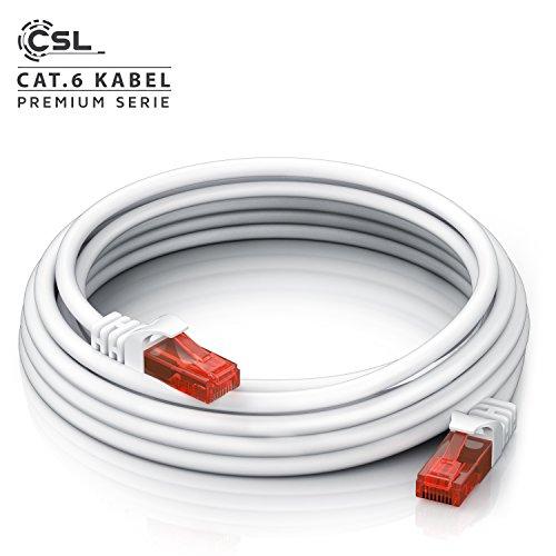 10m Netzwerkkabel RJ45 - Ethernet Gigabit LAN Kabel - 10 100 1000Mbit s - Patchkabel - kompatibel zu Cat 5 Cat 6 Cat 7 Cat 8 - Switch Router Modem Patchpannel Access Point Patchfelder - weiß