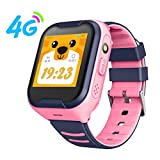 OOLIFENG GPS Smartwatch Armband, Kinder 4G Intelligente Uhr für Mädchen Junge, mit Voice Chat, SOS Notruf Telefonfunktion, WiFi GPS LBS Positionierung,Rosa