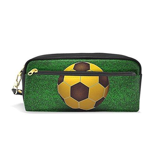 bennigiry una bola de oro en la hierba verde campo de fútbol con cremallera rectangular tamaño grande tela estuche–Escuela maquillaje