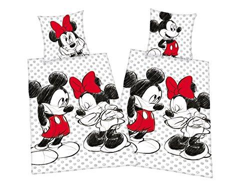 Klaus Herding GmbH Mickey + Minnie Mouse Partner Bettwäsche Doppelpack 80x80cm 135x200cm, 100% Baumwolle mit Reißverschluss