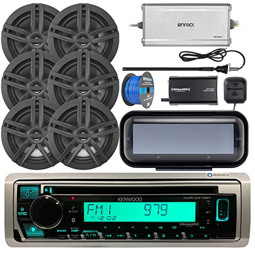 Kenwood Single DIN Marine CD Bluetooth Receiver Bundle Combo with Radio Cover, 6X Enrock Marine 6.5