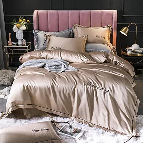 Bedding-LZ Juegos de sábanas de 90 de Oferta,Color sólido de Cuatro Piezas de Lavado de Agua de Dos Caras de Verano.-I_1,8 m de Cama (4 Piezas) (20 200 200 * 230cm)
