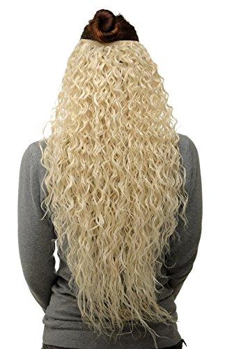 WIG ME UP - Extension capillaire moitié de perruque clip-in 7 clips bouclée env. 70 cm de longueur et 25 cm de largeur blond platine H9311-613