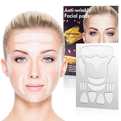 Xnuoyo Anti-Falten-Patches 16 Stücke Wiederverwendbares Anti-Aging-Silikon-Gesichtspatch Anti Falten Stirn Pad Es kann Falten im Gesicht, auf der Stirn und in den Augen reduzieren