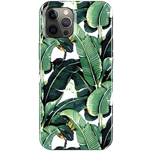 LUMARKE for iPhone 12 Pro Max Case,Soft Silicone TPU Cover with Fashionable Banana Leaves Designs for Girls Women,Slim Fit Shockproof Protective Phone Case for iPhone 12 Pro Max 6.7'
