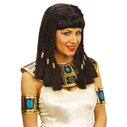 NET TOYS Perücke Kleopatra schwarz mit Pony Fasching ägyptische Perücken Damenperücke Ägypterin Kleopatraperücke Fasnacht Cleopatra Kostüm Zubehör