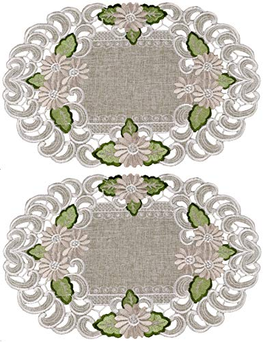 Embroidered Gold Daisy on Green/Gray Place Mats or Doily 11 x 17 Inch Set of 2