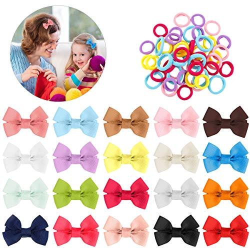 RosewineC 70 Stück Baby Haarspangen mini Haarschleifen Mädchen,Haarschleifen Haarbögen,Elastisch Haarbänder,Haarschmuck Haar Accessoire aus Ripsband und Metall