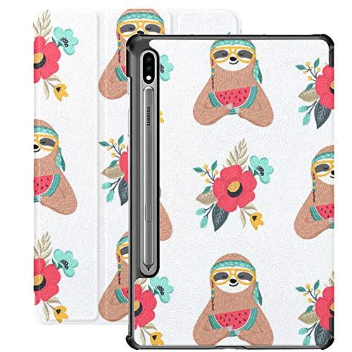 Funda Galaxy Tablet S7 Plus de 12,4 Pulgadas 2020 con Soporte para lápiz S, patrón Cute Baby Sloth Flowers Funda Protectora Delgada con Soporte para Samsung