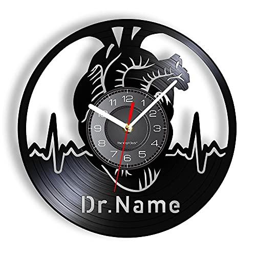 WPYC Corazón y electrocardiografía personalizado reloj de pared médico enfermera regalo vintage diseño iluminado decoración reloj de pared para personal médico sin LED