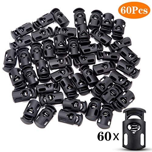 FFNIU Black Single Cord Locks, Plastic Single Hole Spring Plug End Stop Toggle Stoppers, 60 Pieces, Black