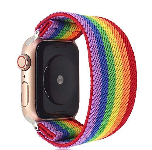 LGFCOK Bohemia - Correa elástica de nailon para Apple Watch 6SE, 38/40 mm, 42/44 mm, para reloj Iwatch 5/4/3 2 y hombre y mujer (color de la correa: arco iris 2, ancho de la correa: 38 mm, 40 mm, S M)
