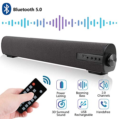 Sound Bar for TV/PC Audio Soundbar with Built-in Subwoofer 16.9 Inch Portable Surround Sound System Home Theater Bluetooth 5.0 Wired & Wireless 2 X 10W 2.0 CH Outdoor Stereo Speaker for Phones/Tablets