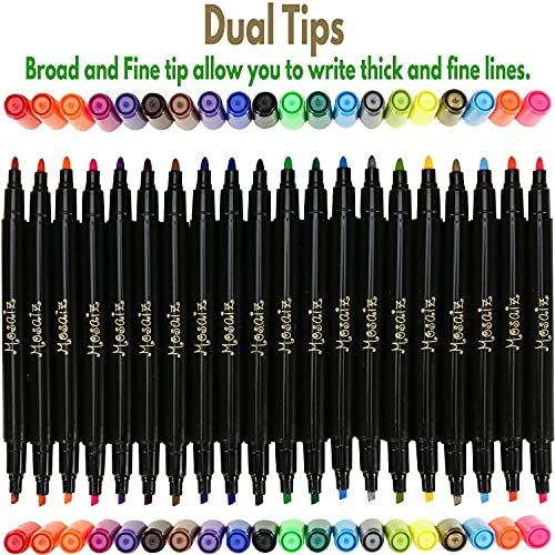 Mosaiz Dual Tip Fabric Markers, 20 Fine and Chisel Tip Fabric Pens Permanent, Canvas Markers and Fabric Paint Pens for Fabric Decorating, With Gold and Silver, including Numbers and Letter Stencils