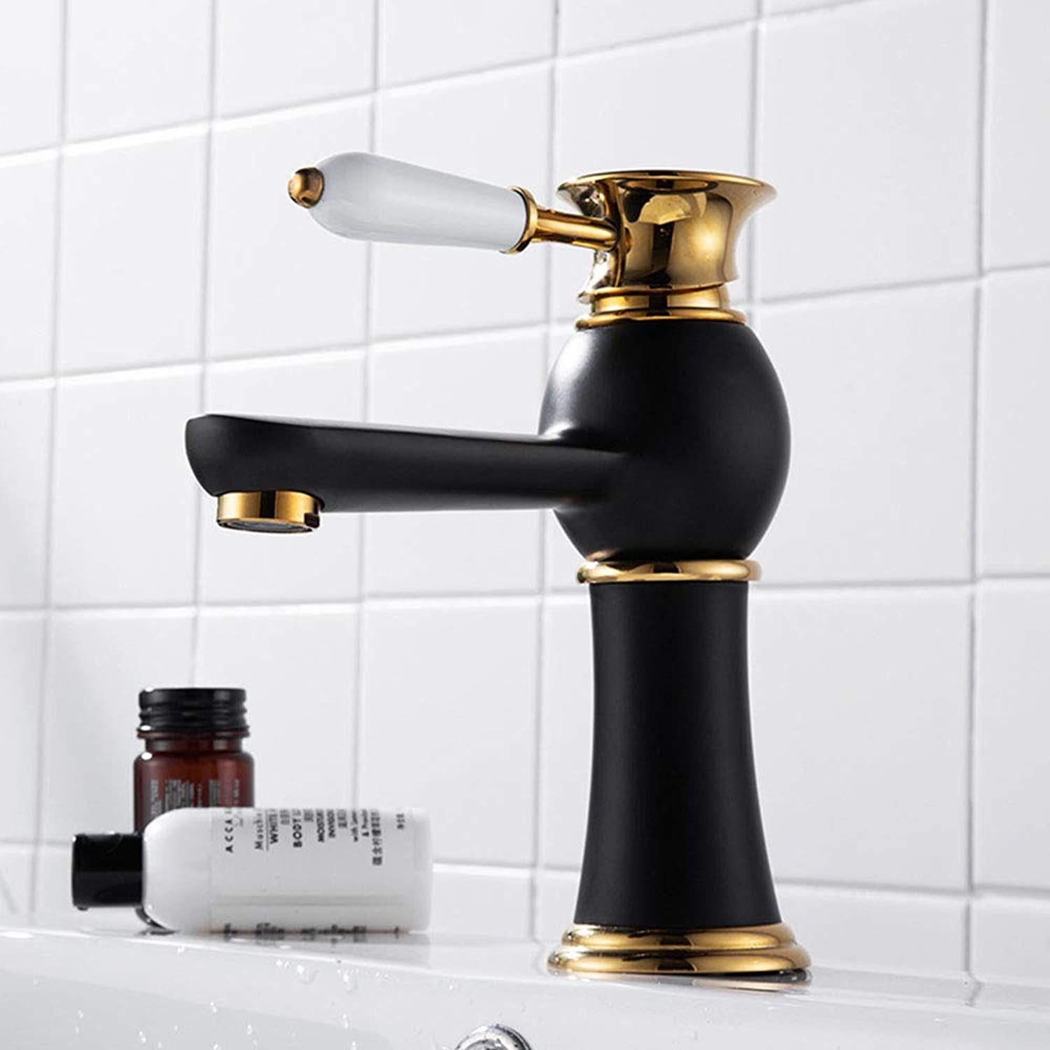 All-Copper Black Basin Faucet, European-Style Vanity Above Counter Basin Hot And Cold Faucet, Washbasin Bathroom Mixing Valve,B