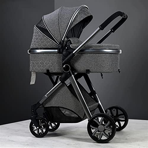 HZPXSB 3 en 1 Cochecito de bebé Viaje High Landscape Portátil Peso Ligero Carruaje Plegable Colorido Lujoso Recién Nacido (Color : Deep Grey)
