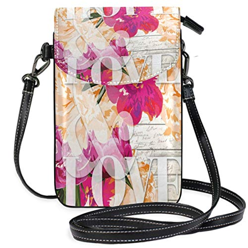 XCNGG Monedero pequeño para teléfono celular Vintage Flower Blossom Bloom Cell Phone Purse Wallet for Women Girl Small Crossbody Purse Bags