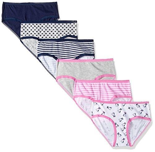Cherokee Girls' Little Elastic Waist Lace Trim Hipster Panties, 6 Pack, Navy/LT Heather Grey asst Pack, 14
