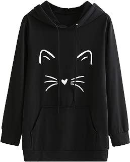 TUSANG Women's Outwear Fashion Long Sleeve Tunic Blouse Cartoon Printed Hoodie Sweatshirt Pullover Blouse