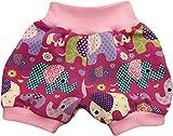 simply-sweet-baby Kurze Babyhose Pumphose Shorts Bunte Elefanten Fuchsia mit rosa Bündchen (56)