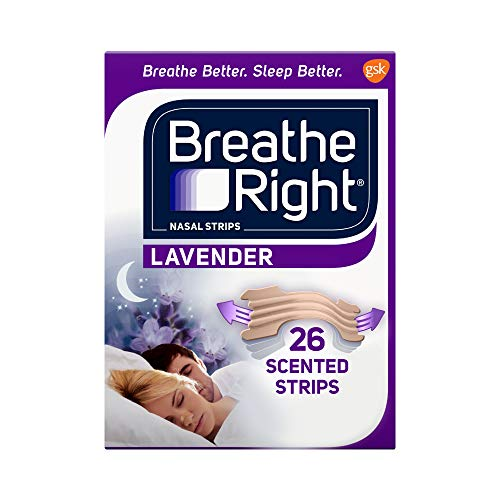 Breathe Right Nasal Strips to Stop Snoring, Drug-Free, Calming Lavender, 26 Count (Pack of 1)
