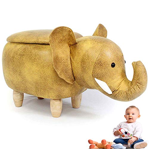 Anzkzo Tierhocker für Kinder mit Stauraum Aufbewahrungsbox Sitzhocker mit Stauraum Kunstleder Sitzhocker Sitzwürfel Fußhocker Fußablage Hocker- A