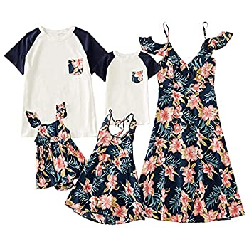 Mumetaz Family Matching Outfits Mommy and Me Dresses Floral Print Cold Shoulder V-Neck Ruffle Backless Clothes