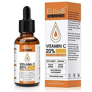 Premium 20% Vitamin C Serum For Face with Hyaluronic Acid Retinol & Amino Acids - Boost Skin Collagen Brighten Hydrate & Plump Skin Anti Aging & Wrinkle Facial Serum