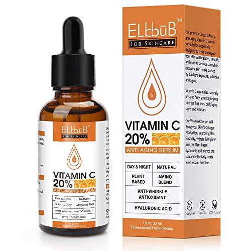 Suero de Vitamina C para Rostro - Suero Facial Puro con 20% Vitamina C, ácido hialurónico, Vitamina B para Suero Anti edad para Rostro, Cuello y Contorno de Ojos