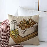 Starosa Pillow Case Gourmet Appetizer Hand Drawn Calamari Fried Squid Dip Appetite Cooked Cooking...