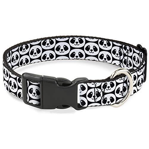 Katzenhalsband Breakaway lächelnder Panda Repeat schwarz weiß 20,3 bis 30,5 cm 1,3 cm breit