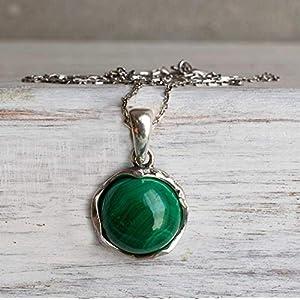 Dainty Sterling Silver Malachite Necklace