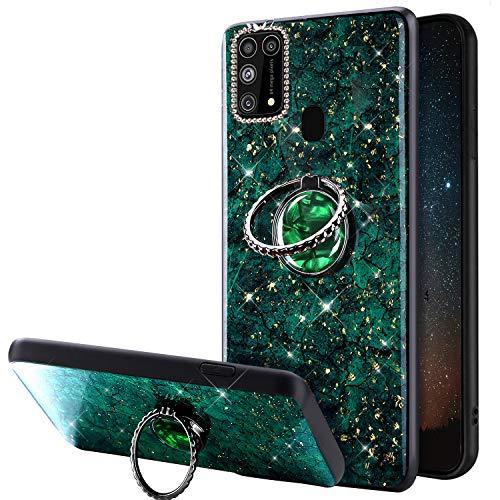 Compatible avec Samsung Galaxy M31 Coque Glitter Brillante Strass Marbre Motif Silicone Gel TPU Antichoc Housse Etui avec Bling Diamant Support de Bague Bumper Case Galaxy M31,Vert