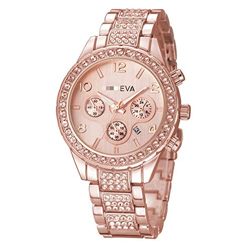 Damenuhren Edelstahl Exquisite Armbanduhr Strass Casual Quarzuhr Für Damen 25cm Roségold