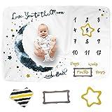 LUKA&LILY Baby Monthly Milestone Blanket Boy, Girl | Baby Milestone Blanket Baby Boy Blanket | Baby Boy Gifts, Nursery Decor Baby Shower | Newborn Baby Month Blanket | Baby Growth Chart Blanket, 60x40