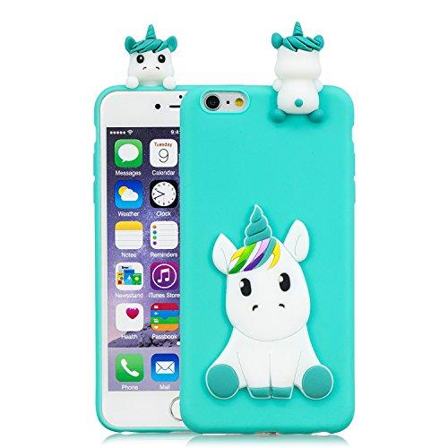 HopMore Compatible con Funda iPhone 6S / 6 (4.7 Inch) Silicona Dibujo 3D Divertidas TPU Gel Kawaii Ultrafina Case Antigolpes Caso Protección Design Carcasas Gracioso - Unicornio Verde