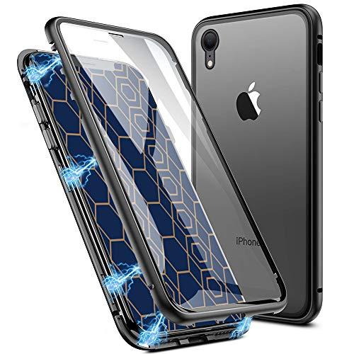 EATCYE Kompatible mit iPhone XR Hülle (6,1 Zoll), Ultra Dünn Magnetische Adsorption Metallrahmen Hülle 360 Grad Komplettschutz mit Doppelseitig Gehärtetes Glas Transparente Displayschutzfolie (Schwarz