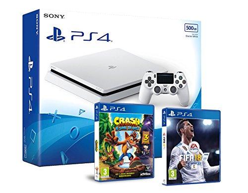 PS4 Slim 500Gb Blanca Playstation 4 Consola - Pack 2 Juegos - FIFA 18 + Crash Bandicoot N.Sane Trilogy