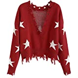ZAFUL Women's Solid V Neck Loose Sweater Long Sleeve Ripped Jumper Pullover Knitted Crop Top (Red-Star)