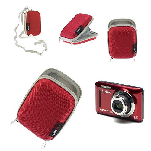 Navitech rote Wasser wiederständige Harte Digital Kamera Tasche fürKodak Pixpro SP360 4K