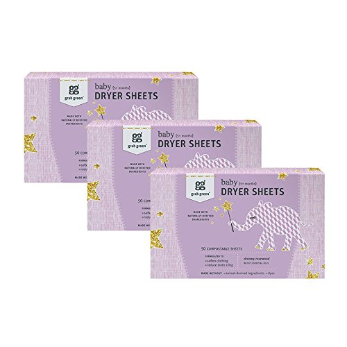 Grab Green {Stage 2} Natural Baby Dryer Sheets {5+ Months}, Compostable, Free of Wax & Animal-Derived Ingredients, Dreamy Rosewood Fragrance—with Essential Oils, 50 Sheets (3-Pack)