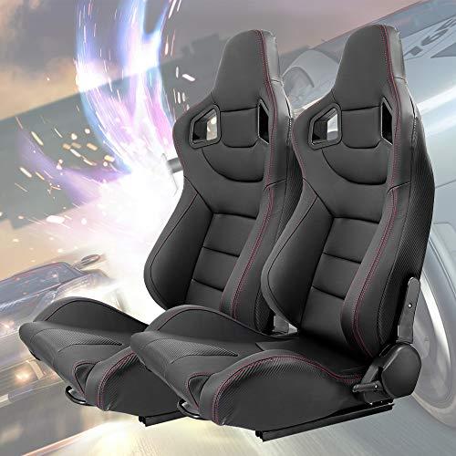 KAIRAY 2 Stück Set Sports Style Rennsitze PVC Leder Verstellbarer Schalensitz Sportsitz Autositz (schwarz)