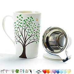 Idea Regalo - Tazza da tè in ceramica (510ML) con infusore e coperchio da viaggio Teaware con filtro verde, tazza di tè Steeper Maker, colino per tè sfuso, set diffusore per regalo amante del tè