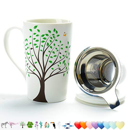 TEA SONG Taza de té de cerámica (510ML) con infusor y Tapa Tazas de Viaje con Filtro (árbol Verde), Taza Steeper Maker, colador de Cerveza para difusor de Hojas Sueltas para Regalo de Amante del té