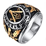 Para hombre acero inoxidable pirámide Masónica anillo banda plata oro alta Polaco