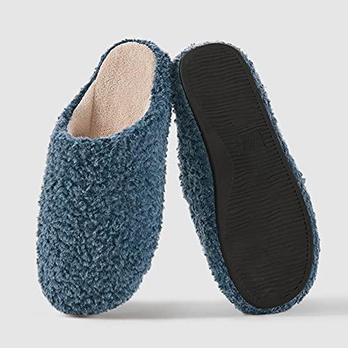 Acogedoras Zapatillas De La Casa Mullida Y Mullida para Mujer, Zapatos Casuales Informales De Invierno De Invierno, Zapatos De Casas De Coral, Zapatillas De Pareja Interior (Size:43/44,Color:Azul)