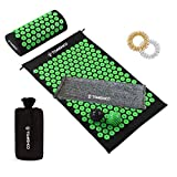 TOMSHOO Acupressure Mat and Pillow Set with Massage Balls Acupressure Rings A Towel for Beginners to Adjust Points Intensity-Ideal for Back/Neck Pain Relief and Muscle Relaxation-Perfect Green