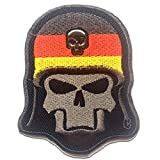 Totenkopf mit Stahlhelm Army - Aufnäher, Bügelbild, Aufbügler, Applikationen, Patches, Flicken, zum aufbügeln, Größe: 6.7 x 8.2 cm